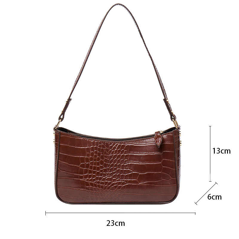 Bolsos de hombro Retro para mujer, bolso para axila de cuero con estampado de cocodrilo, bolsos de Baguette avanzados, bolsos de mano a la moda de PU, bolso para mujer