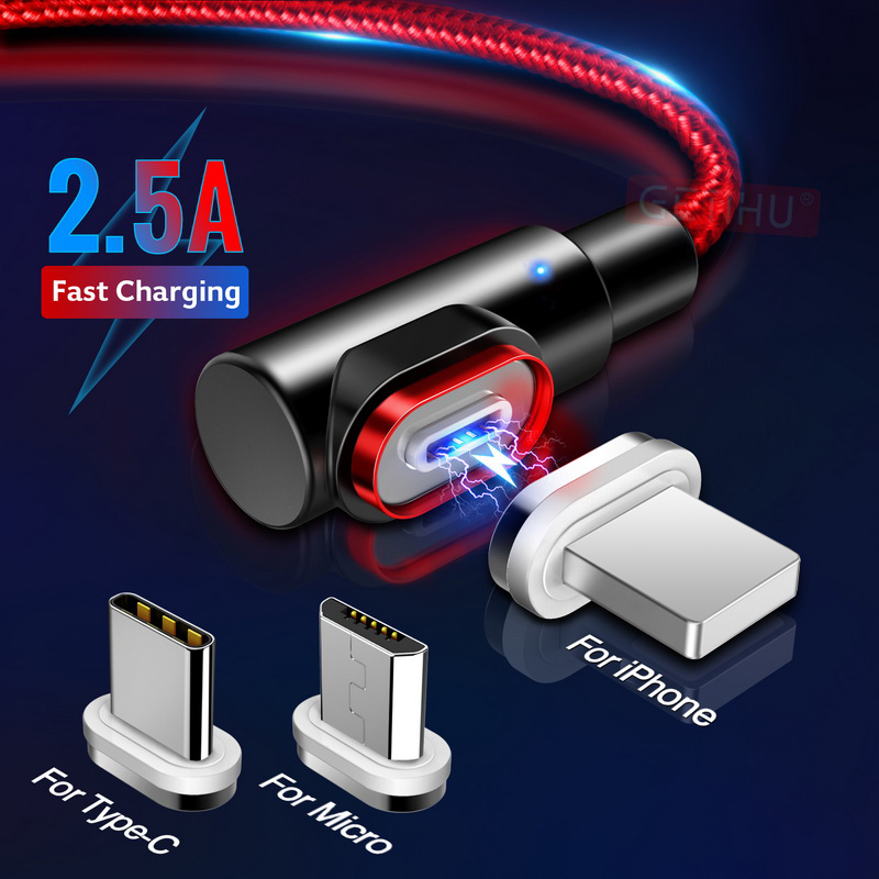 GETIHU 2.4A Fast Magnetic Cable For IPhone XS X XR 7 Micro USB Quick Charger Type C Magnet Android Cord Phone Cable For Samsung