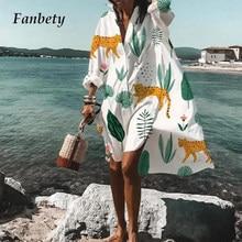 2020 Women Button Shirt Dress Autumn Elegant Floral Print Long Sleeve Dress Ladies Casual Loose A-Line Beach Boho Dress Vestido