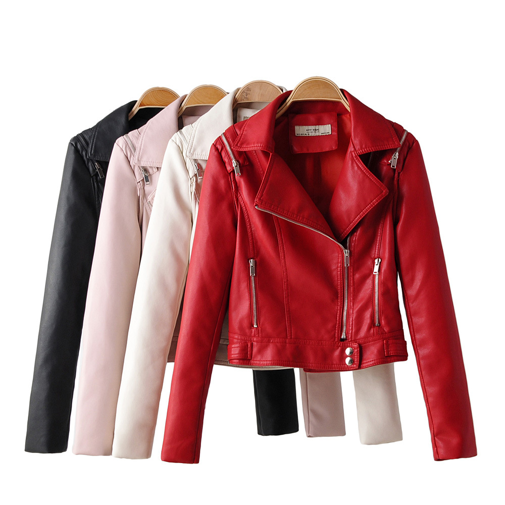 Taotrees Autumn Solid Color Lapel Long Sleeve Slim   Leather   Short Jacket