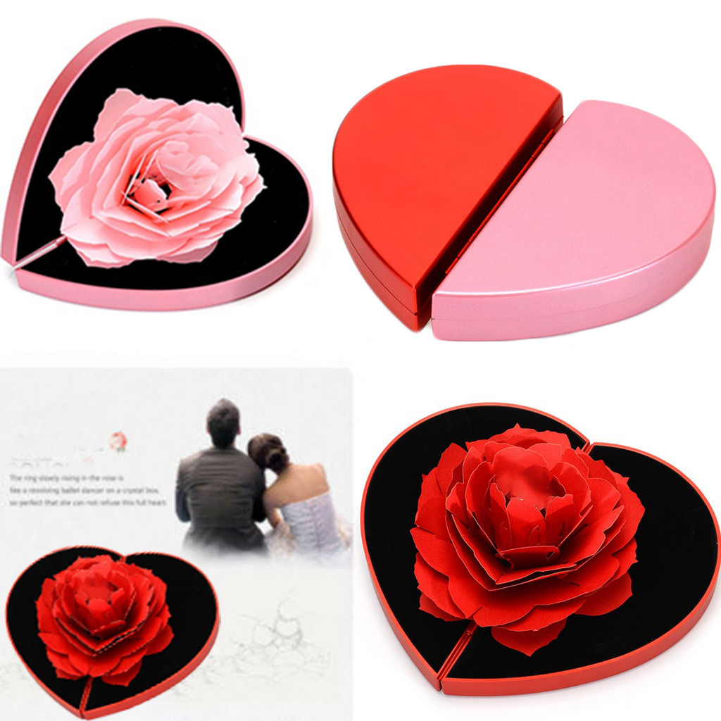 Smooth Romantic Rotating Rose Engagement Marriage Ring Jewelry Box Ladies Jewelry Packaging Display Heart Storage Case Gift