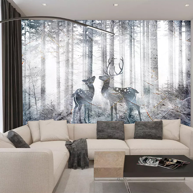 Northern European-Style Elk Customize The Murals Art Wall Cloth Living Room Sofa TV Wall Bedroom Wallpaper Modern Wallpaper