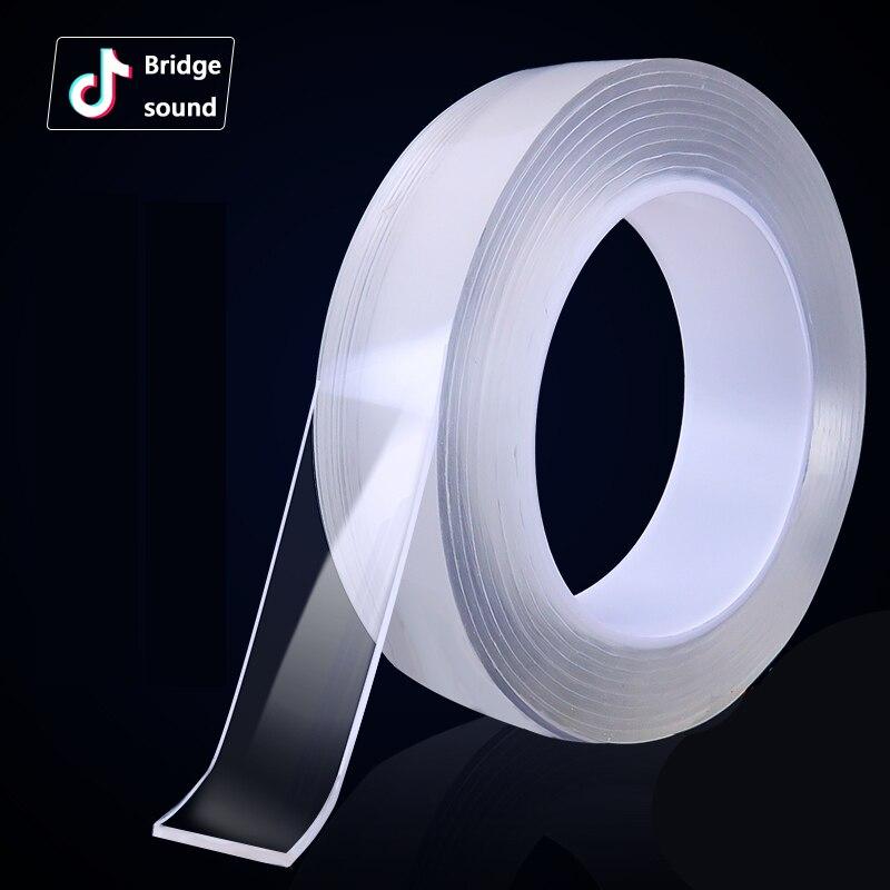 Transparent nano-tape Washable Reusable Double-Sided tape Adhesive Nano Traceless Sticker Removable Universal Disks Glue