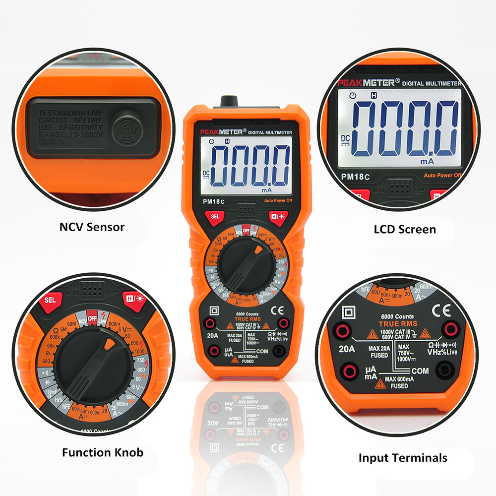 AC True Measuring Digital Current Voltage Frequency Multimeter Meter RMS PM18C DC PEAKMETER Resistance  Capacitance