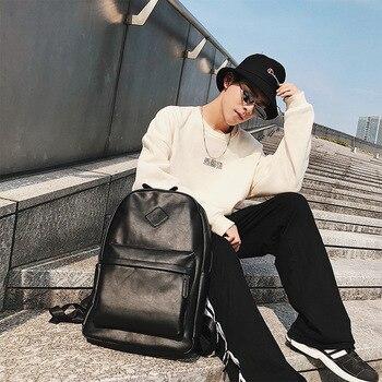 New Korean version of men's double shoulder bag, student schoolbag, computer bag, backpack.
