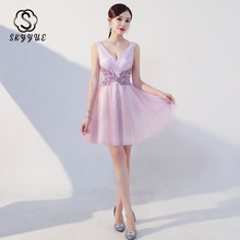 Skyyue Cocktail Dress Mini Tank Vestidos De Coctel 2019 V-neck Backless Women Party Dresses Beading Crystal Cocktail Gown HH005