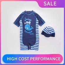Toddler Swimwear Swimming-Suit Infant Stripe Beach-Bathing Kids Summer Boy Cartoon Hat
