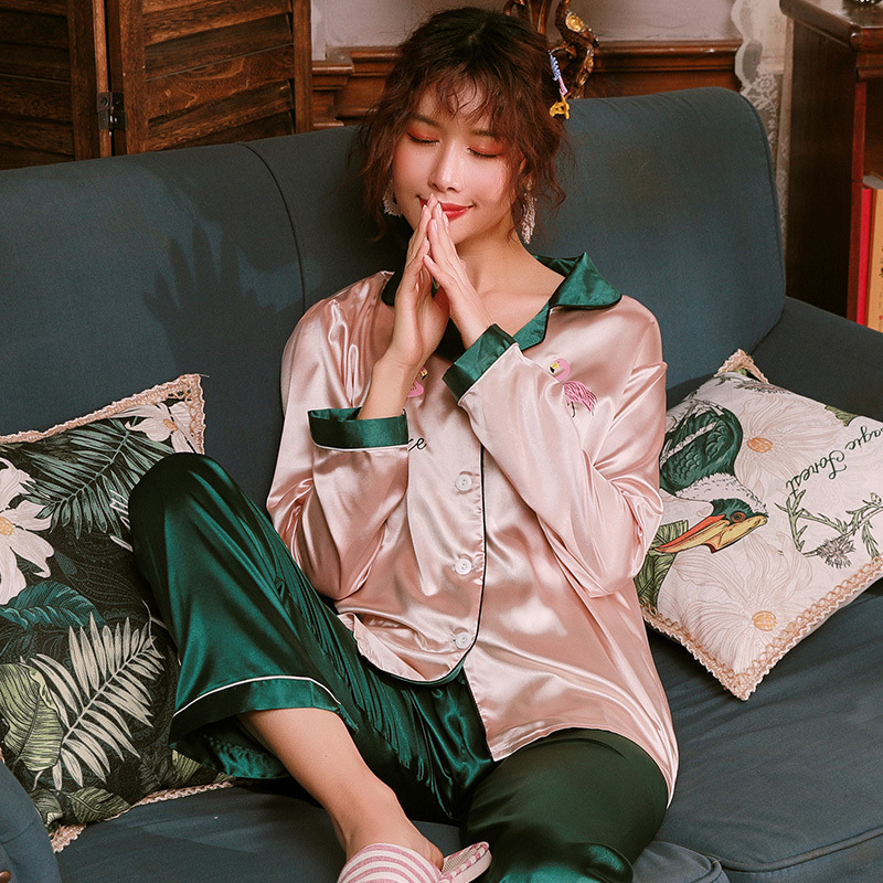 Smmoloa   Original Lazy Style Fake Flower Silk Pajamas Set For Women Spring Summer Women Sleepwear Set Doll