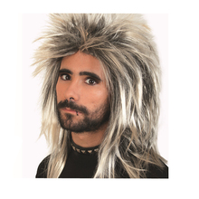 Free Shipping Rock star had a shaggy wig black and Champagne Men Boys Cosplay
