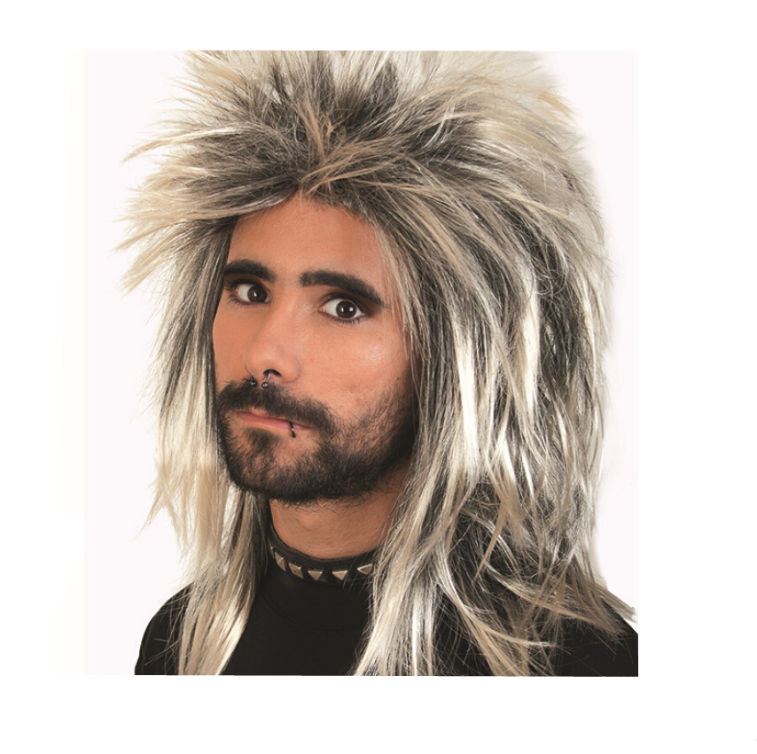 Free Shipping Rock star had a shaggy wig black and Champagne Men Boys Cosplay Wig Girl Hairpiece Hair Periwig 45 cm Wig in stock