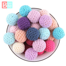 Bite Bites 20pcs 16mm Wooden Crochet Bead Baby Teether Knitting Beads Blank DIY Nursing Necklace Gifts Children'S Goods Bpa Free