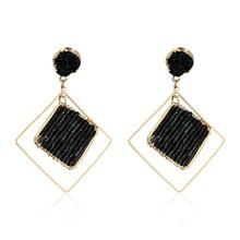 DREJEW Black Geometric Hollow Square Statement Earrings 2019 Fashion Alloy Drop for Women Weddings Party Jewelry HE0861