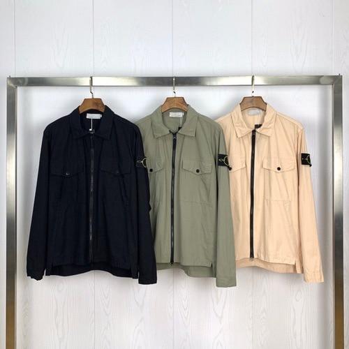 2020ss Compass Badge Sleeve Patched Women Men Pocket Jacket Coat Men Streetwear Turn Down Collars Jacket Windbreaker