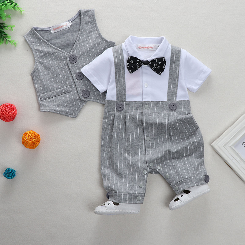 Baby Romper Summer Baby Boys Clothes Gentleman Tie Jumpsuit+Vest Jacket Newborn Clothes Kids Costume For Baby Overalls Clothes