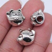 WYSIWYG 5 uds 13x12mm Color de plata antiguo gato de la suerte gran cuentas con orificio para fabricación de joyería DIY resultados de la joyería