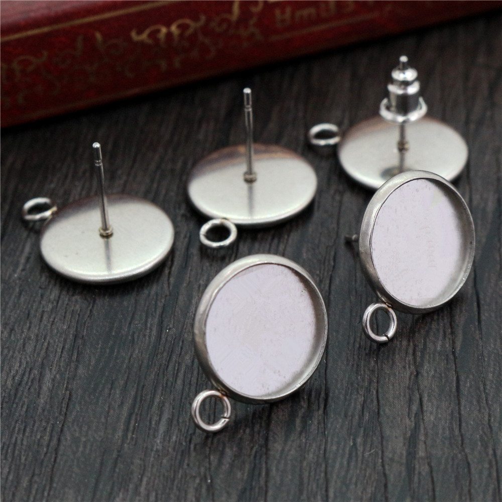 ( No Fade ) 12mm 20pcs Stainless Steel Earring Studs,Earrings Blank/Base,Fit 12mm Glass Cabochons,Buttons;Earring Bezels (L2-39)