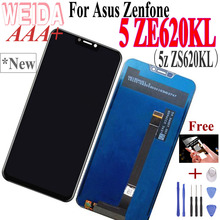 WEIDA 6.2''For Asus Zenfone 5z ZS620KL Zenfone 5 ZE620KL LCD Display Touch Screen Digitizer Assembly Black With Tools Tape for asus zenfone 5 lcd screen display with touch screen digitizer assembly black by free shipping 100% warranty