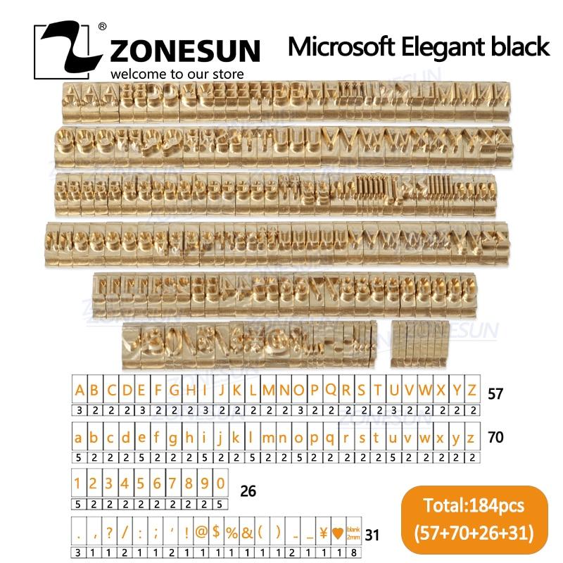 ZONESUN 184 PCS Alphabet Letter Set With Number Symbols 10cm T Slot  Letter Stamp For Hot Foil Stamping Machine Custom Logo Name