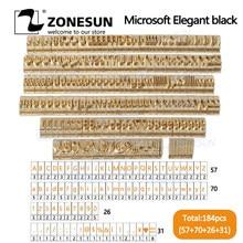 Zonesun conjunto de letras do alfabeto, 184 peças, com número, símbolos, 10cm t slot carta, carimbo para máquina de estampagem de folha quente nome personalizado do logotipo