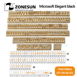 Image 1 - ZONESUN 184 PCS Alphabet Letter Set With Number Symbols 10cm T slot  Letter Stamp For Hot Foil Stamping Machine Custom Logo Name