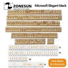 ZONESUN 184 adet alfabe mektup seti ile sayı semboller 10cm T yuvası mektup damga sıcak folyo damgalama makinesi özel Logo adı