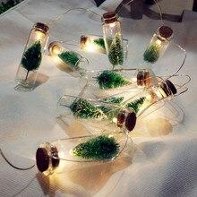 Светодиодная Рождественская елка, бутылка желаний, 1 м, батарея, Рождественская елка, каменщик, банка, гирлянда, сказочные огни, стеклянная бутылка, гирлянда, Рождественская сцена