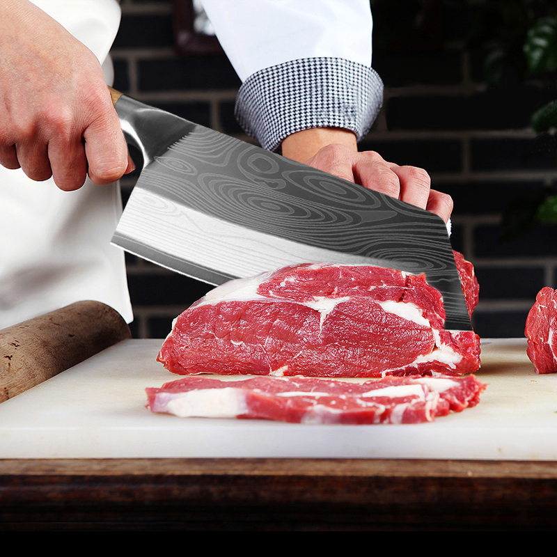 Kitchen Knife Damascus Laser Pattern Chinese Chef Knife Stainless Steel Butcher Knife Wood Handle Cleaver Meat Chopping Knife