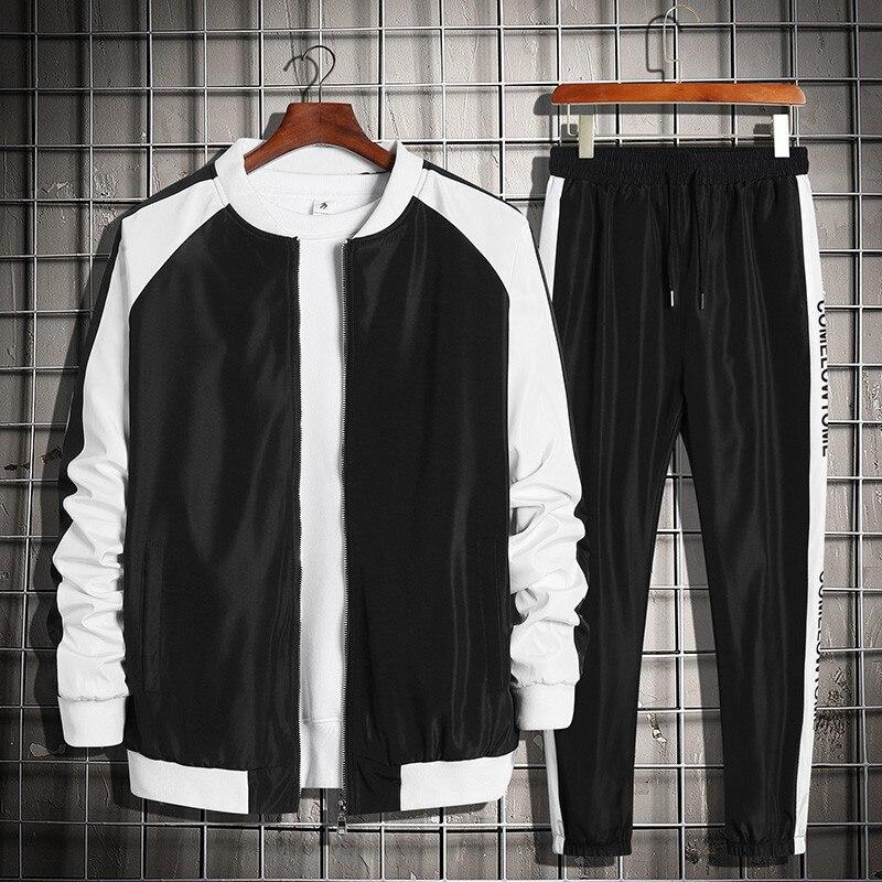 Conjuntos de marca masculina casual treino 2 peça conjunto 2021 primavera outono jaqueta + calças moda esportes terno homem streetwear hip hop