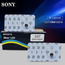 30 pçs/lote Sony 100% Original 337 SR416SW 1.55V Botão de Célula tipo Moeda Bateria de Relógio de Óxido De Prata Único grão embalagem MADE IN JAPAN