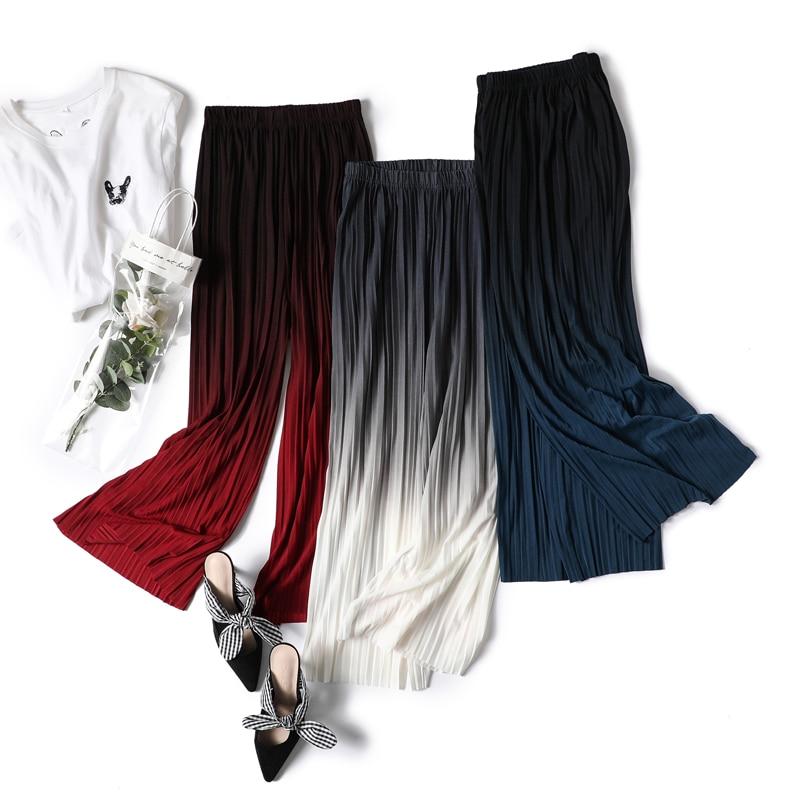 Female Summer Ice Silk Gradient Color Wide Leg Pants Pleated Nine Points Large Size High Waist Drape Skirt Straight Beach Pants