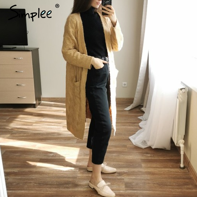 Image 3 - Simplee Winter mohair long cardigan knitted sweater women Long 