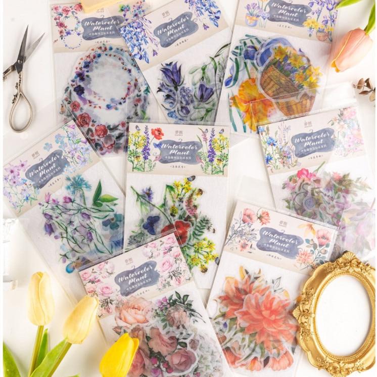 20pcs/pack Vintage Fall Plants Flowers Stickers Diy Scrapbooking Photo Album Decorations Label Stickers School Office Supplies