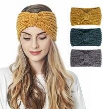 Boêmio boêmio hair band feminino cor sólida acessórios para o cabelo feminino hair bandana de tricô de veludo senhoras outono inverno quente bezel