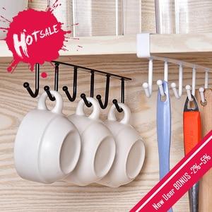 Black/White Iron 6 Hooks Cup Holder Hanging Bathroom Hanger Kitchen Organizer Cabinet Door Shelf Removed Storage Rack Home Decor(China)