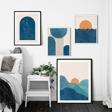 Boho Blue Style Gallery Wall Art Prints Sunset Posters Abstract Line Living Room Bedroom Interior Decor Canvas Painting No Frame