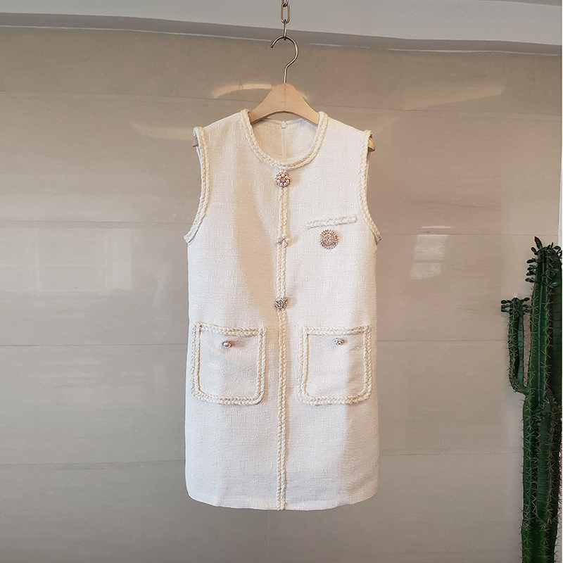 Твидовое платье с жемчужными пуговицами, женское винтажное мини-платье с круглым вырезом без рукавов, элегантные вечерние платья для подиу...