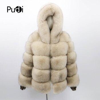 цена CT913 women knitted Real fox fur hood coat jacket overcoat lady fashion winter warm genuine fur coat outwear онлайн в 2017 году