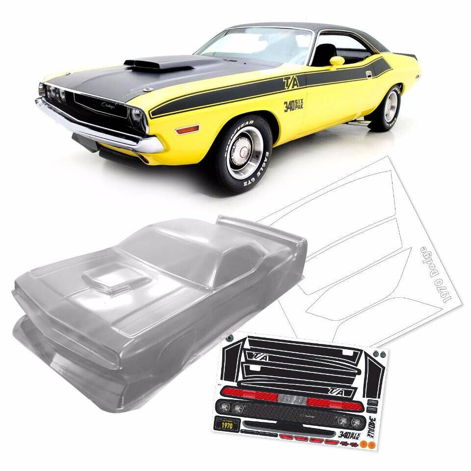 1/10 PC RC Shell Body 1970 Challenger 200mm Width Classic V8 Pony Car Transparent Shell Body For 3RAICNG Mst Yokomo Hpi Hsp