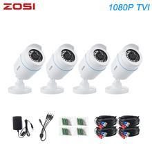 ZOSI 4 adet Bullet 1080P TVI CCTV video gözetim kamera IR gece görüş 2MP videcam CCTV güvenlik kablosu kam DVR sistemi