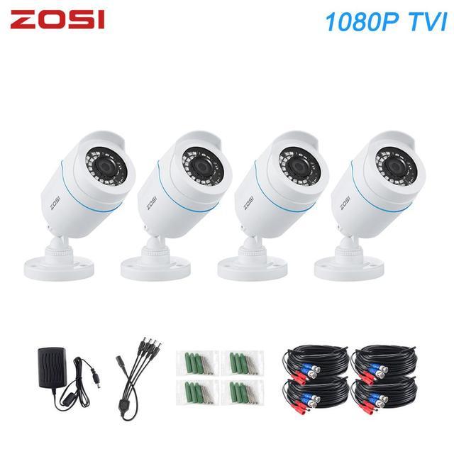 Zosi 4 pces bala 1080p tvi cctv câmera de vigilância de vídeo ir nightvision 2mp videcam cctv cabo de segurança cam para dvr sistema