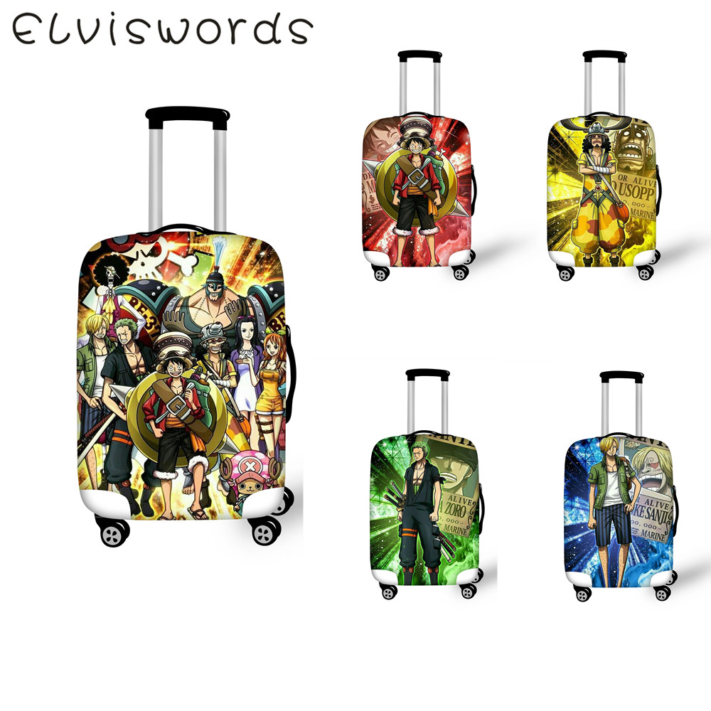 ELVIESWORDS Suitcase Cover Anime One piece Design Travel Goods Elastic waterproof Luggage Cover Size 18-32 inch Luggage tag