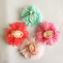 1 Pcs/lot Knitted Lace And Ribbon Bow Of Pearls Hairpin Cute kids Girl Hair Clips Chiffon Flower Hairpins Kids Accessories