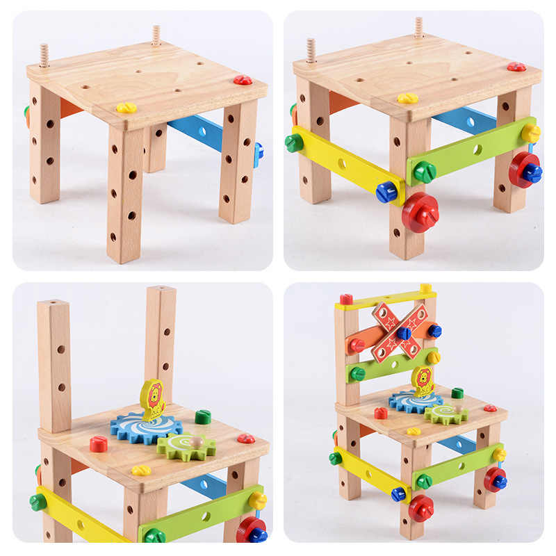 Wooden Assembling Chair Montessori Toys Baby Educational Wooden Toy  Preschool Multifunctional Variety Nut Combination Chair Tool| | - AliExpress