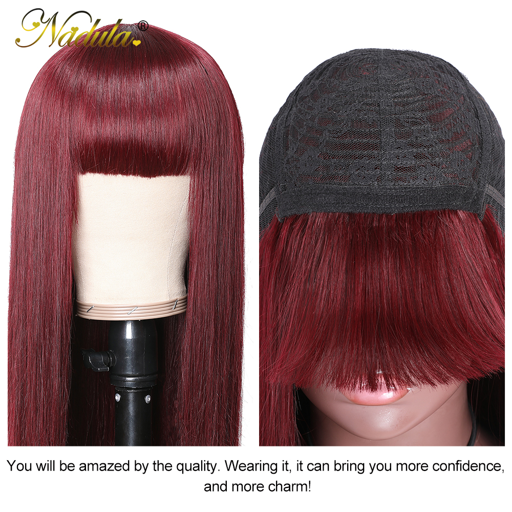 """Nadula Hair Wig #99J Straight Wig With Bangs  Wigs Pre Plucked Full Machine Wigs 18"""" 20"""" Straight Hair 6"""