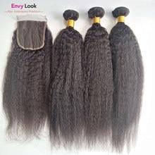 Envy Look 100% capelli umani crespi lisci ricci macchina Remy colore naturale 3 fasci 100g con chiusura in pizzo svizzero 4*4 pollici
