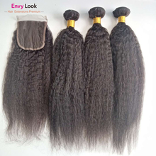 100%Human-Hair Closure Curly-Machine 3-Bundles Straight with 4--4-Inches Swiss Lace Natural-Color