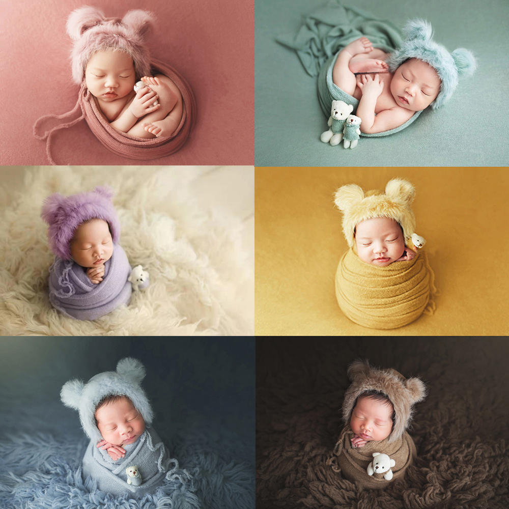 Photo-Props Blanket Hat Wraps Bear-Doll Stretch Faux-Fur Knitted Newborn Infant Strong