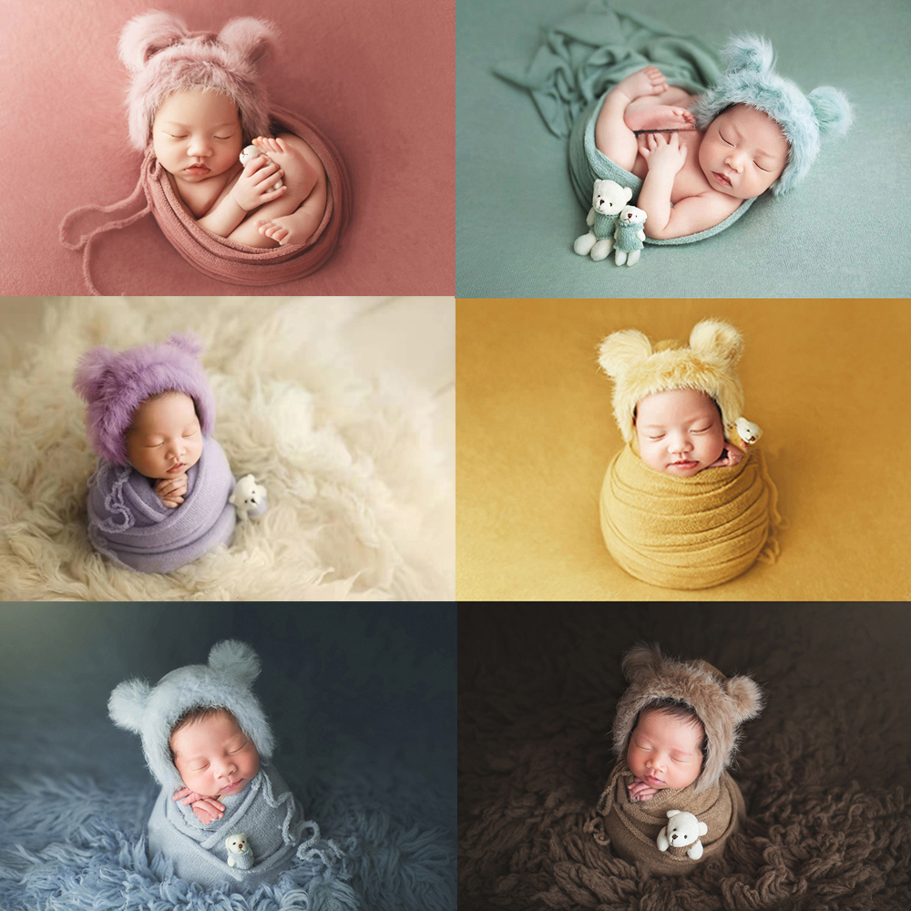 3pcs/set Newborn Infant Photography Wraps Knitted Baby Boys Girls Photo Props Faux Fur Hat Strong Stretch Blanket Bear Doll