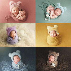 Photo-Props Blanket Wraps Stretch Faux-Fur Knitted Newborn Baby-Boys-Girls Hat Bear-Doll