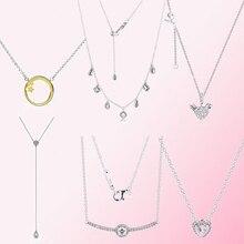 100% 925 argent sterling brillant étoile filante colliers pendant formes géométriques goutte collier coeur ange ailes clavicule chaîne